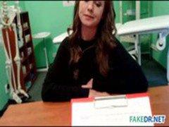 Brunette model gets pounded in fake hospital