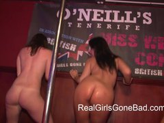 FOUR SEXY GIRLS STRIP NAKED ON STAGE