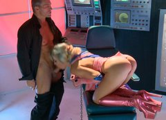 Classy blond babe with juicy butt  gives blowjob in spaceship