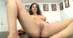 Ugly brunette bitch Karina White sucks the dick intensively and gets poked hard in a missionary position