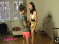 Zuzinka and her teen friend in double lapdance