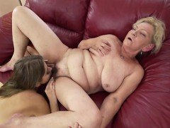 Russian Julia Red licking granny Irenes hairy pussy and ass
