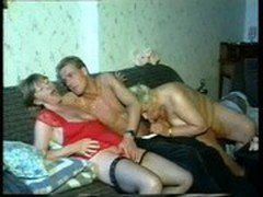 3 old Grandmas start with lesbo games &amp_ share a younger dick afterwards