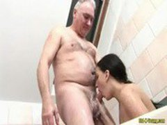 Old and young after hot oral and action hardcore with mouts full of hot load