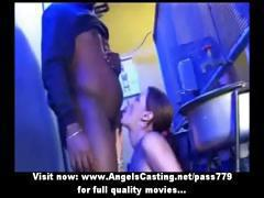 Brunette cutie does blowjob for black guy and gets cumshot on neck