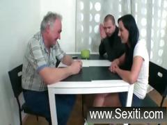 Little brunette with nice tits gives this old guy head and fucks