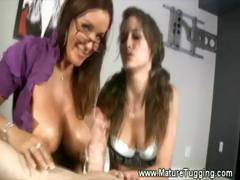 Busty milf and teen give hot handjob